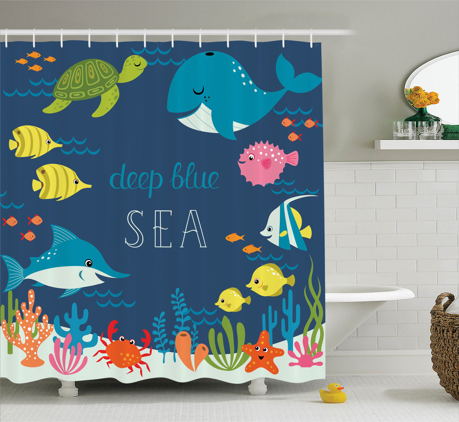 Cartoon Decor Shower Curtain Set, Artsy Underwater Graphic With Algaes Coral Reefs Turtles Sword Fishes The Life Aquatic Motion, Bathroom Accessories, 69W X 70L Inches, By Ambesonne