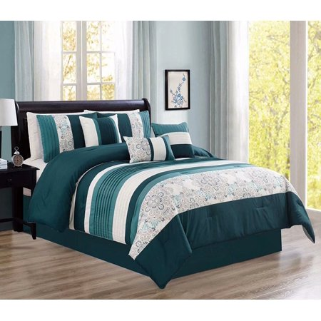Modern 7 Piece Oversize Comforter Set Bedding with Accent Pillows (Teal, Queen) ()