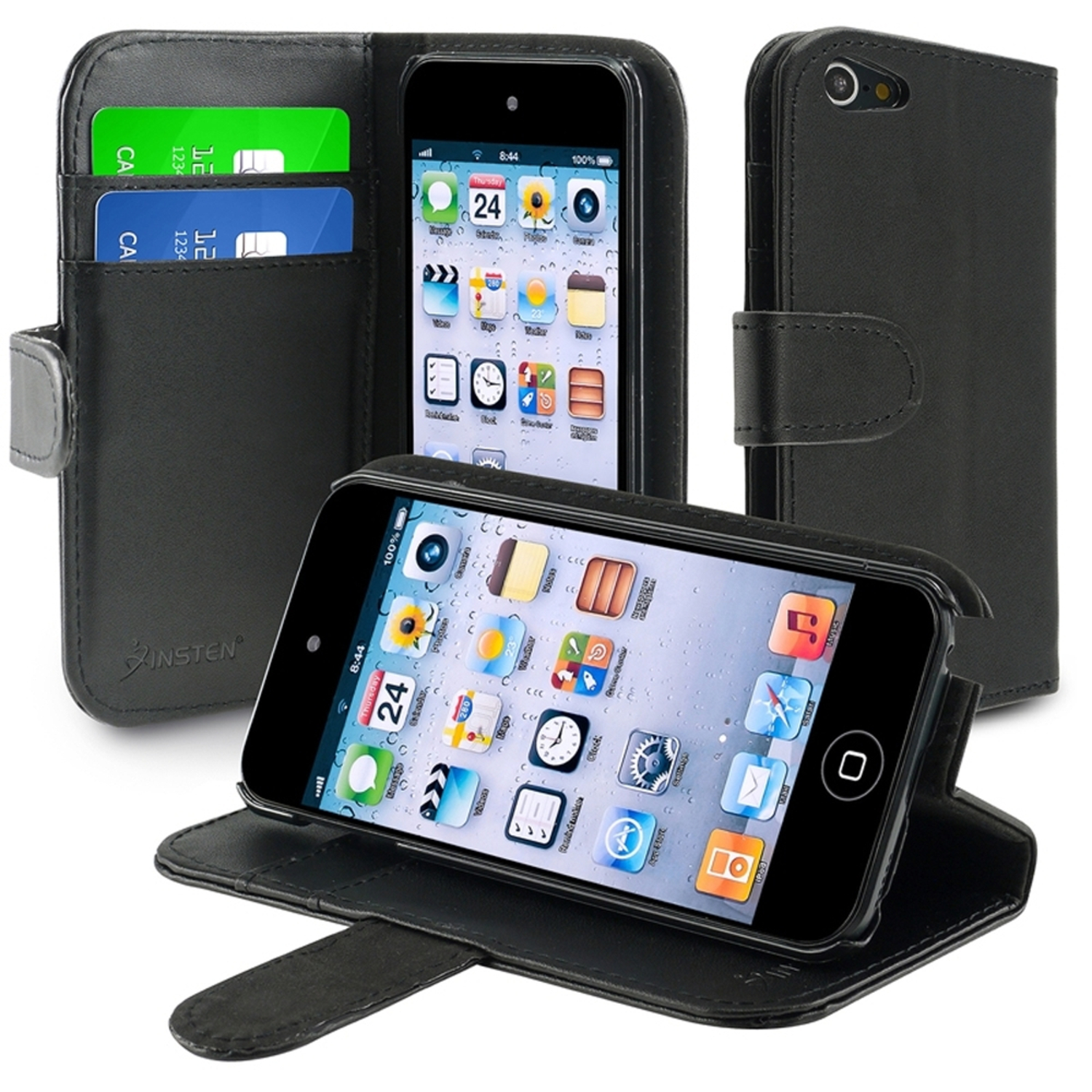 Insten Leather Wallet Case with Card Holder For Apple iPod touch 6 6th 5 5th Gen, Black