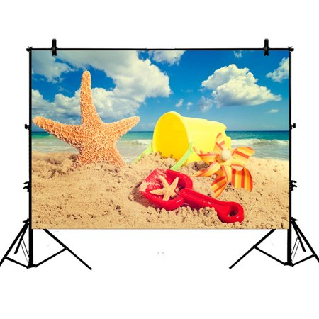 YKCG 7x5ft Sunset Sea Coastline Colorful Seashells Starfish on Sandy Beach Photography Backdrops Polyester Photography Props Studio Photo Booth Props