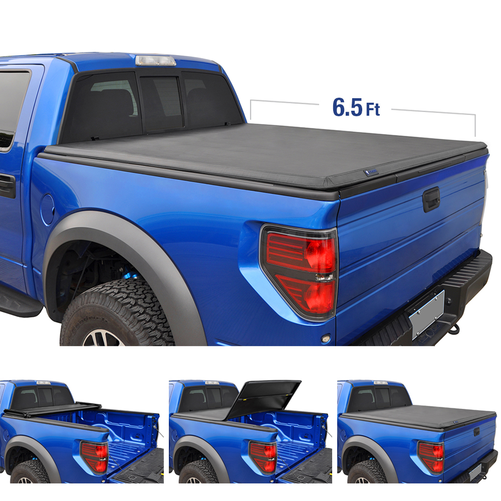 Tyger Auto T3 Tri Fold Truck Bed Tonneau Cover Tg Bc3f1042 Works With 2015 2019 Ford F 150 Styleside 6 5 Bed Walmart Com Walmart Com