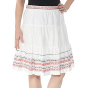TOMMY HILFIGER Womens Ivory Embroidered 77 Knee Length Knee Length Skirt  Size: 6