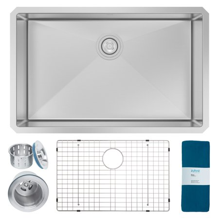 Zuhne Modena 28 Inch Undermount Single Bowl 16 Gauge Handmade Stainless Steel Kitchen -