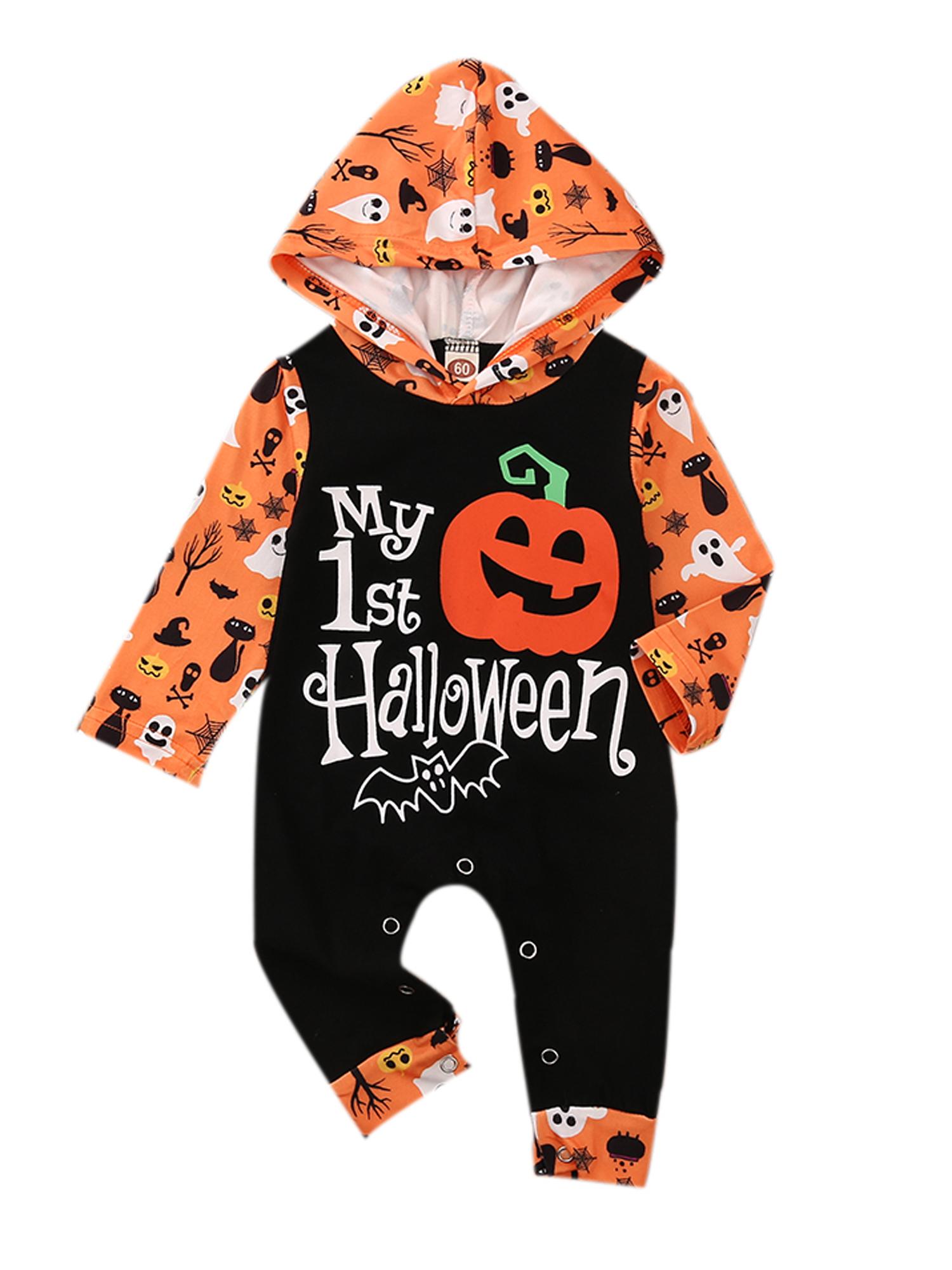 Baby Boys Girls Halloween Long Sleeve Romper Jumpsuit//Skirt Pumpkin Ghost Printed Pajama Outfits