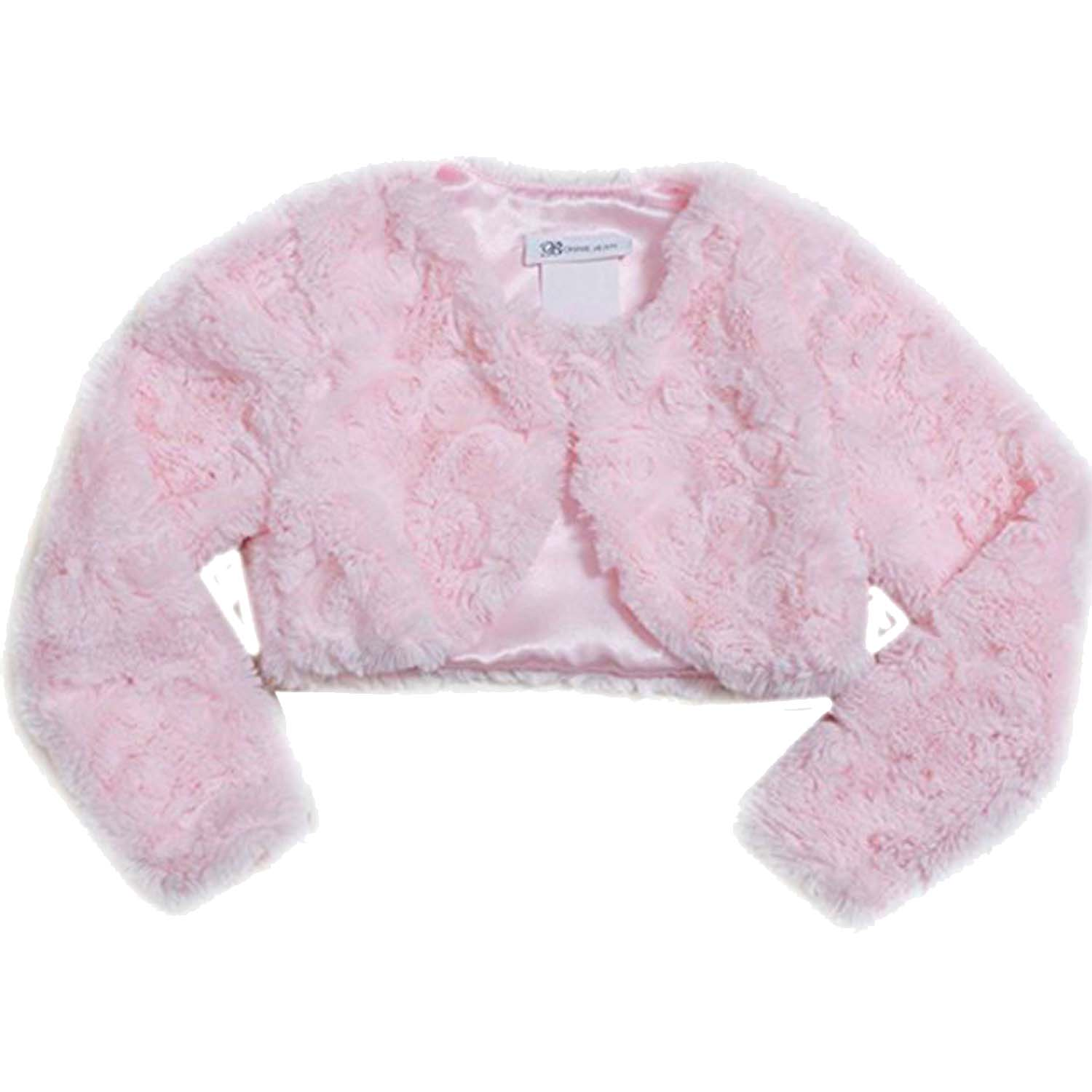 Little Girls 2T-6X Pink Rosette Swirl Faux Fur Bolero Cardigan Shrug/Jacket, 3T [BNJ06028]