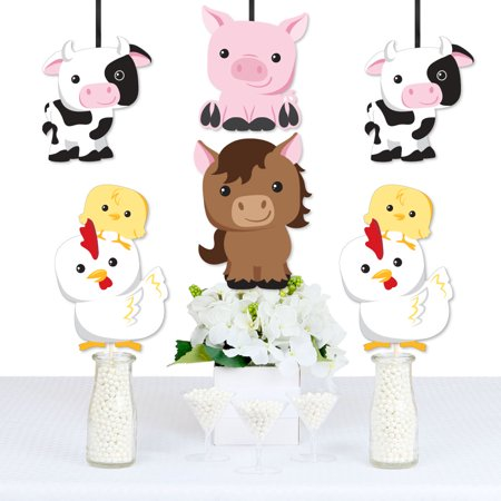 Farm Animals - Cow, Horse, Pig and Chicken Decorations DIY Baby Shower or Birthday Party Essentials - Set of 20 - Horse Birthday