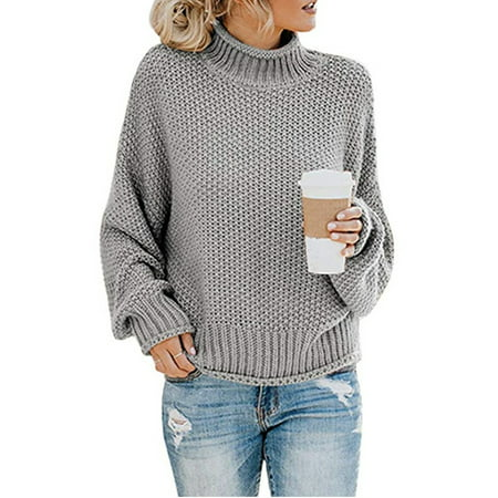 Women's Long Sleeve Sweaters Turtleneck Loose Soft Knitted Casual Pullover Long Sleeved Turtleneck