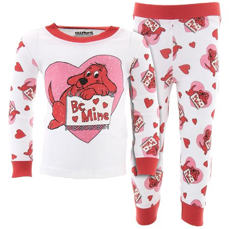Clifford Be Mine Valentines Day Cotton Girls Pajamas