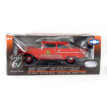 Highway 61: 1957 Chevy 150 Sedan Fire Chief Battalion 4 (Red) 1/18 Scale Highway 61 Collectibles