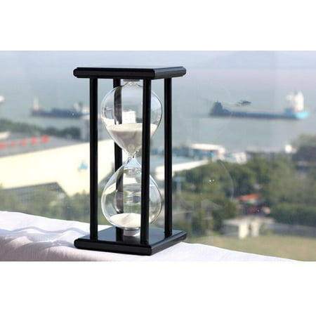 All clearance 30Mins Wooden Frame Sand Sandglass Hourglass Timer Clock Decor Home Gift Black-white sand