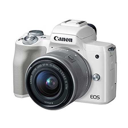 Canon EOS M50 Mirrorless Digital Camera with 15-45mm Lens (White) (Canon Camera Gray)