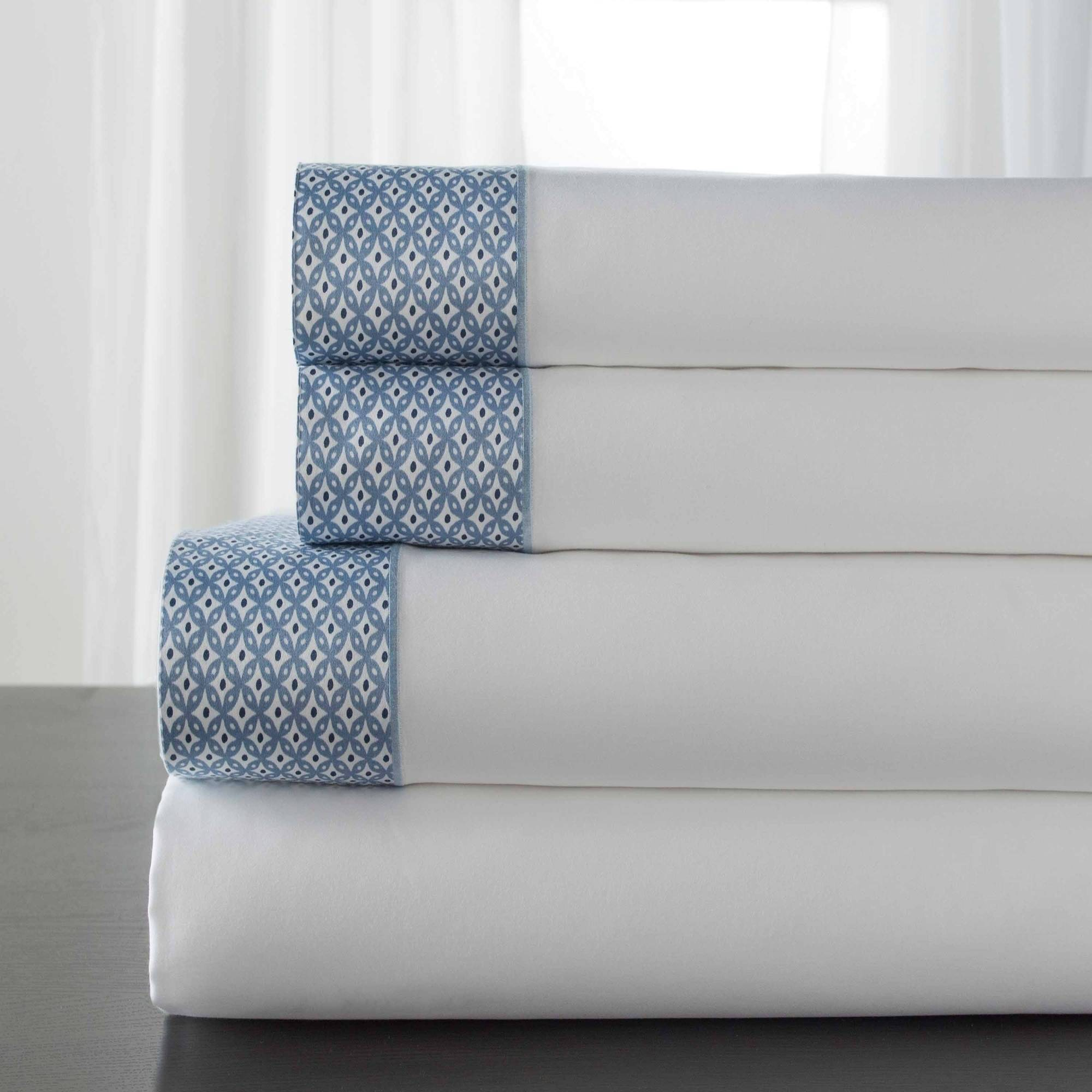 T400 Cotton Adara Printed Hem Sheet Set