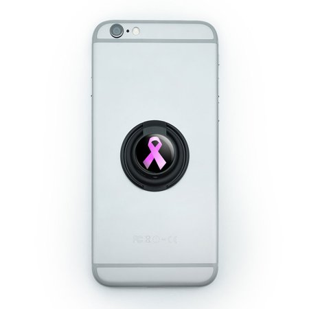 Cancer Cell (Breast Cancer Pink Ribbon on Black Mobile Phone Ring Holder Stand )