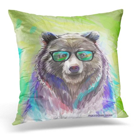 ECCOT Colorful Graphic Cool Low Poly Hipster Bear Portrait with Wild Spectacled with Fluffy 10 White Pillowcase Pillow Cover Cushion Case 20x20 inch](Low Poly Portrait)