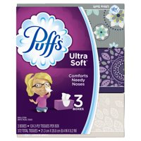 Puffs Ultra Soft Non-Lotion Facial Tissues, 3 Family Boxes, 124 tissues per box