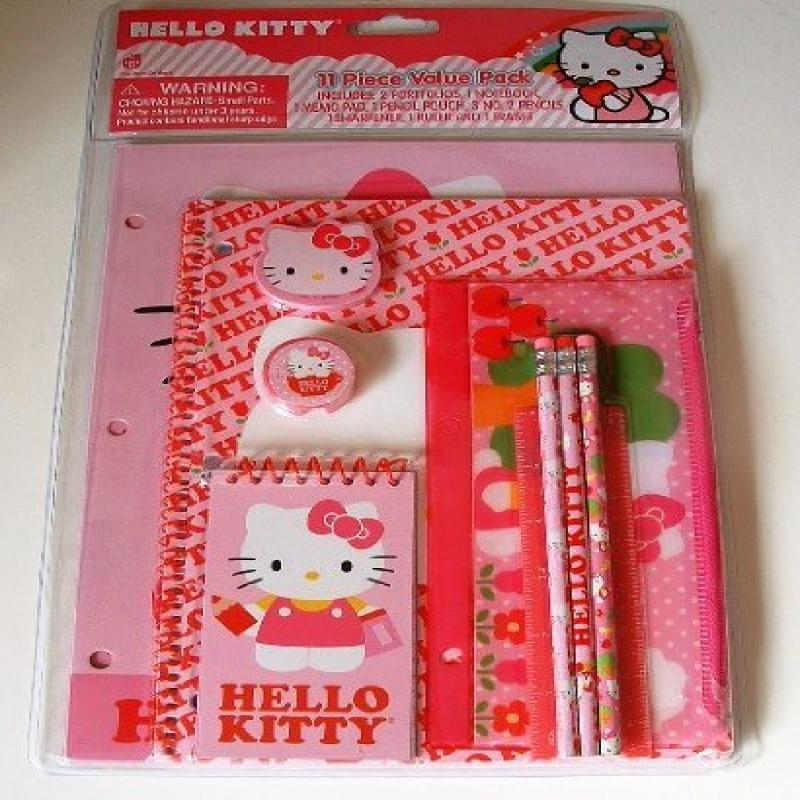 Hello Kitty Think Pink 11 piece Stationary Pack (Portfoli...
