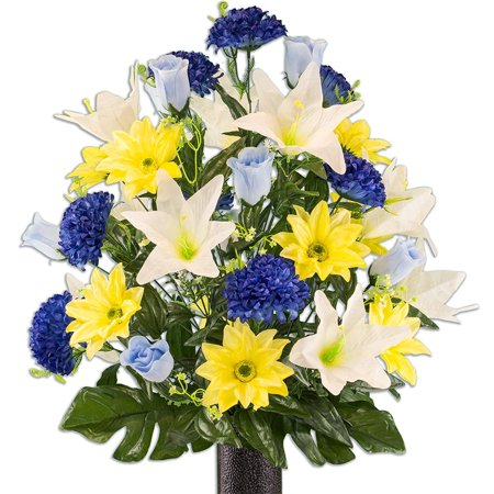 Yellow Gerbera and White Lily Mix Artificial Bouquet, featuring the Stay-In-The-Vase Design(c) Flower Holder (LG2172) Fresh Flower Holders