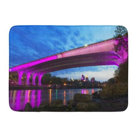 GODPOK America Blue District Minneapolis Minnesota 35W Bridge in Deep Purple and Pink at Sunset Downtown Arch Rug Doormat Bath Mat 23.6x15.7 (8 Deep Arch Door)