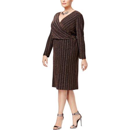 Sangria Womens Plus Metallic Shine Wear to Work Dress Gold 14W](Rose Sangria)