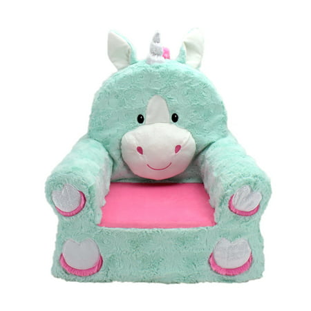 Zapf Chair - Sweet Seats Adorable Teal Unicorn Children's Chair, Standard Size, Machine Washable Removable Cover, 13