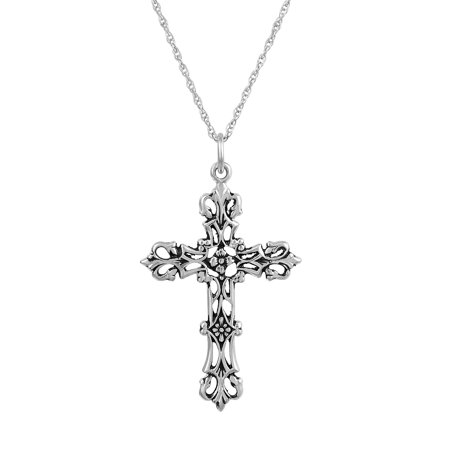 Silver Pendant Necklace Jewelry - Sterling Silver Antique Cross Pendant, 18