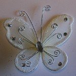 "24 Ivory Organza Nylon Wire Butterfly Wedding Arts and Crafts Decorations 2"" Big, From US,Brand generic"