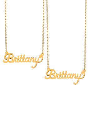 """Special Bundle BOGO. Buy One Get One at 50% Off of the Personalized """"Brittany"""" Polished Name Necklace with an 18 inch Link chain in Sterling Silver or 14K Gold Plated Sterling Silver"""