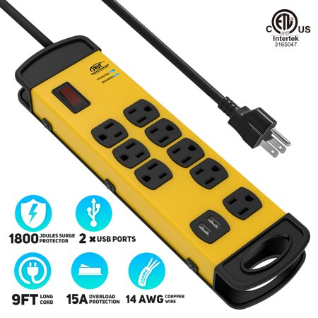 CRST 8-Outlets Heavy Duty Surge Proector Metal Power Strip with 2 USB Ports 15 Amps, 9-Foot Power Long Cord 1800 Joules for Garden, Kitchen, Office, School, ETL Listed (8-Outlet 2 USB, Yellow Black) Metal Surge Strip