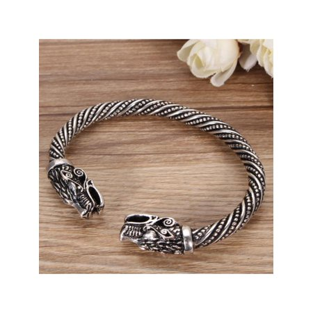 Norse Viking Wolf Head Silver Open Bracelet Gothic Bangle Jewellery Adjustable (Alchemy Gothic Bracelet)