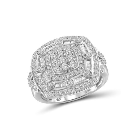 1.00 CTW White Diamond Ring in Sterling Silver