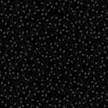 Quilting Illusions Black Leaf Vile Cotton Fabric by Quilting Treasures