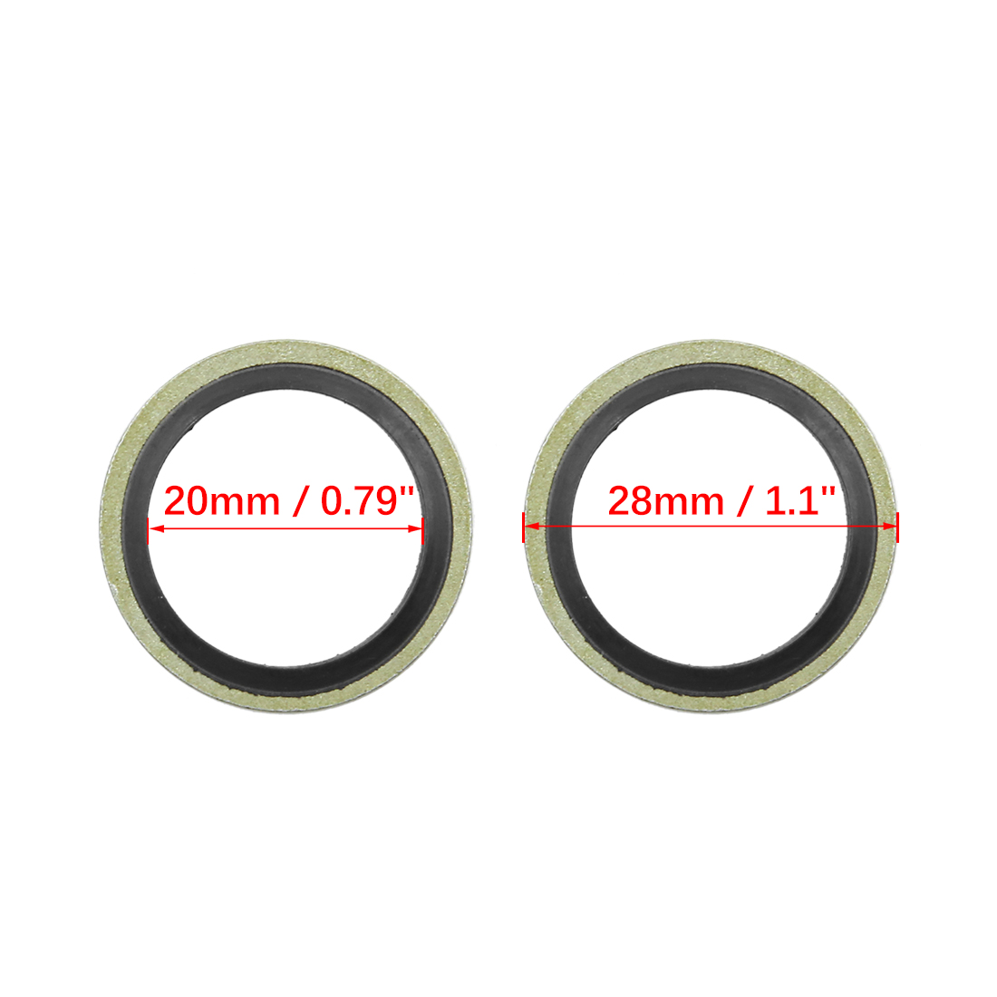 10pcs Engine Oil Crush Washers Drain Plug Gaskets 20mm ID. 28mm OD. for Car - image 1 of 2