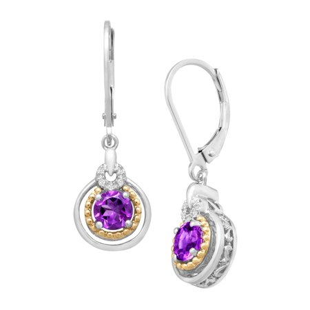 - Duet 7/8 ct Natural Amethyst Drop Earrings with Diamonds in Sterling Silver and 14kt Gold