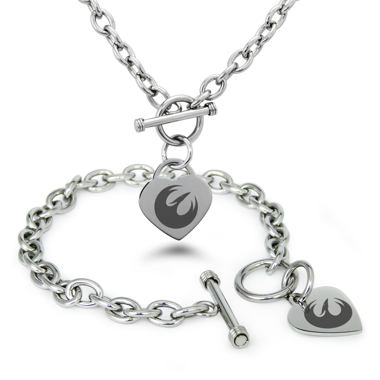 Stainless Steel Star Wars Rebel Phoenix Symbol Heart Charm Toggle Bracelet & Necklace
