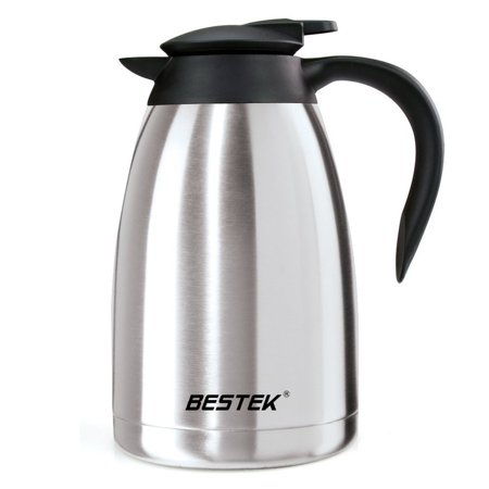 BESTEK 50 Ounce Coffee Carafe With Press Button Double Wall Vacuum Insulated Stainless Steel Coffee Thermal Carafe Milk Heat Cold Retention Carafe With Lid Thermal Pitcher
