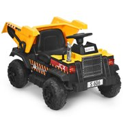 Gymax 12V Battery Kids Ride On Dump Truck RC Construction Tractor w/ Electric Bucket