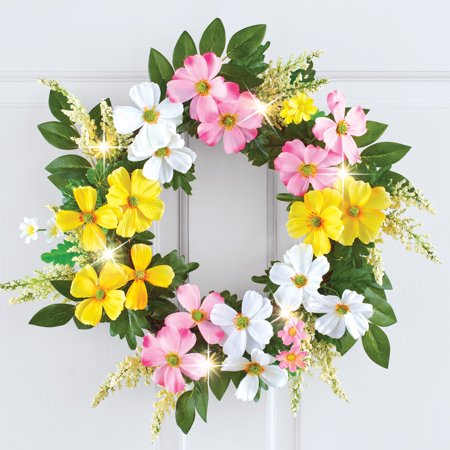 Collections Etc Dogwood Floral Spring Wreath with LED Lights and Lush Greenery, Hook Attached for Easy Hanging ()