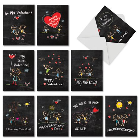 M5655VDB-B1x10 Chalkboard Love 10 Valentine's Day Note Card Set with Envelopes](Big Valentines Day Cards)