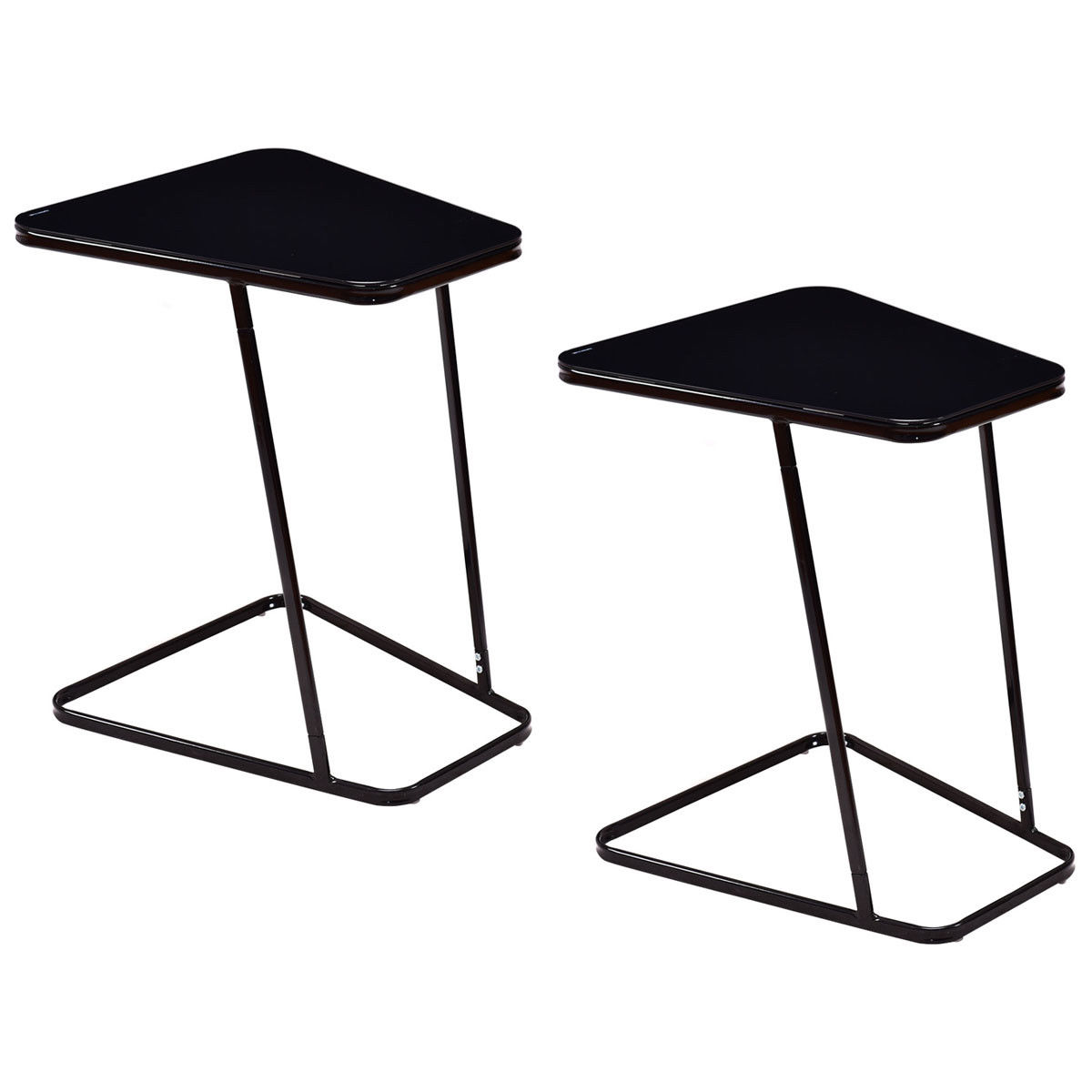 Gymax 2PC Modern C Shape Glass Steel End Table Accent Side