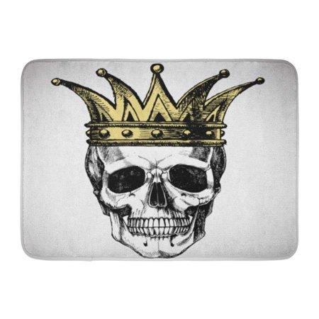 SIDONKU Goth King of Death Portrait Skull Crown Rock for Your Graphic Halloween Doormat Floor Rug Bath Mat 23.6x15.7 inch - Level 1 Of 100 Floors Halloween