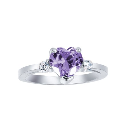Heart Lavender Cubic Zirconia Ring Sterling Silver 925 Size - Lavender Ice Ring
