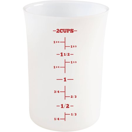 Cake Boss Countertop Accessories 2-Cup Flexible Silicone Measuring Cup, White ()