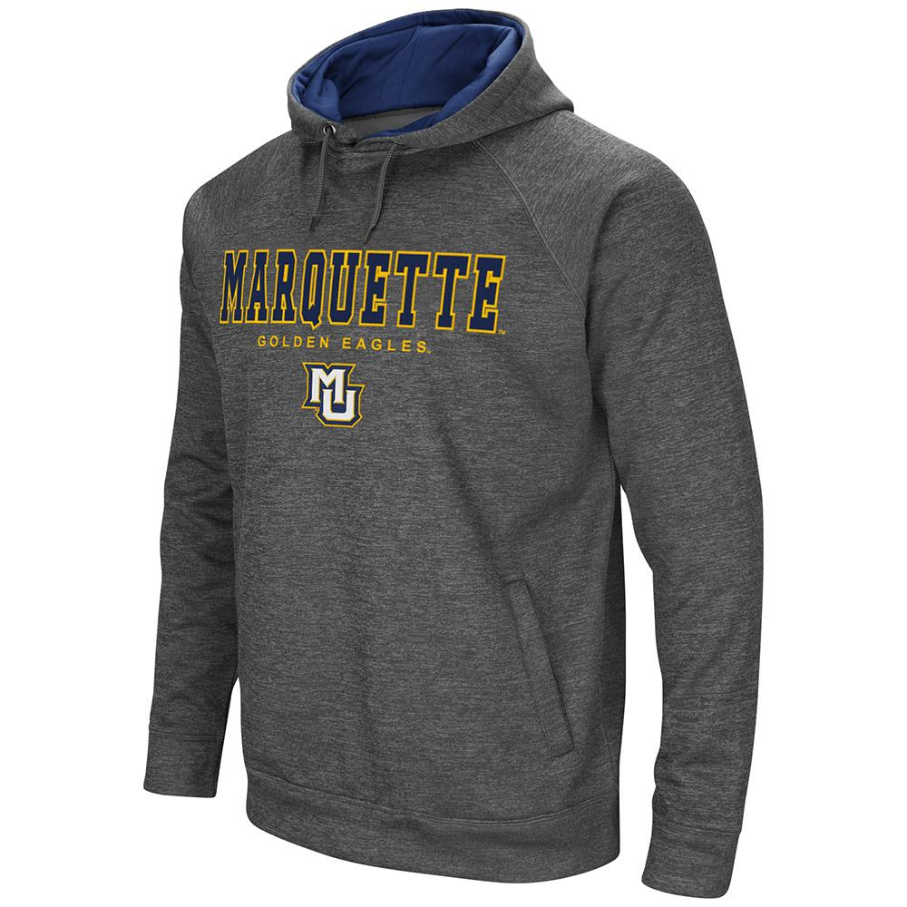 Mens Marquette Golden Eagles Heather Charcoal Pull-over Hoodie by Colosseum