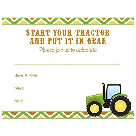 24 Green Tractor Multi Chevron Fill-in Kids Birthday Party Invitations - image 1 of 1
