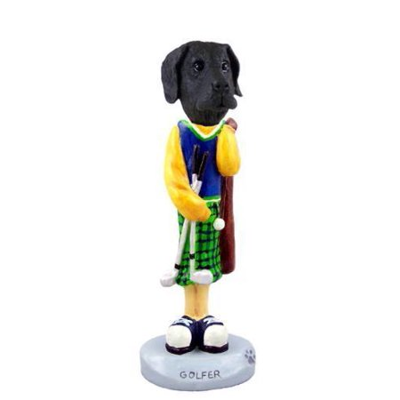 Black Great Dane Figurine - Great Dane Black w/Uncropped Ears Golf Doogie Collectable Figurine