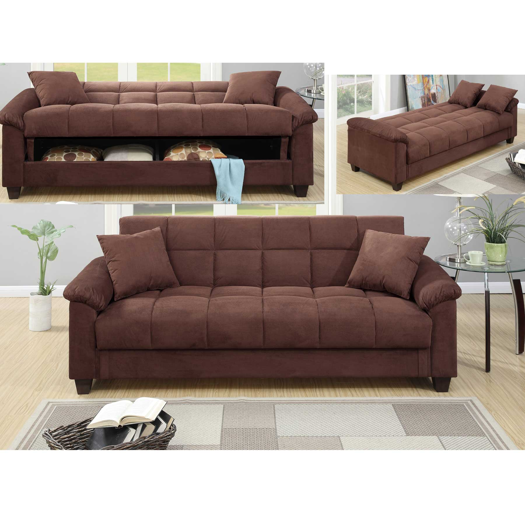 Chocolate Microfiber Storage Futon Sofa Bed Walmart