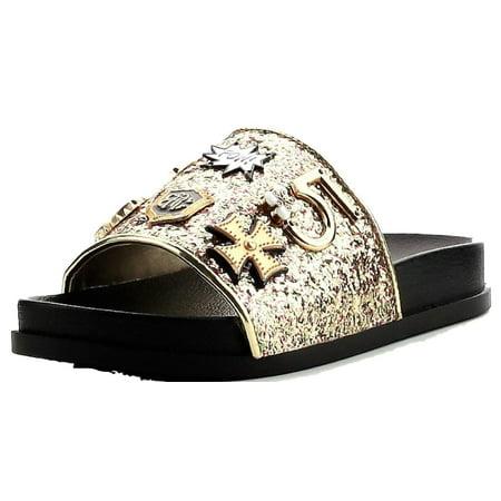 Cape Robbin Moira-25 Women Slides Flip Flop Glitter Metal Pendant Ornament Sandal Gold (6)