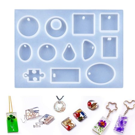 Asewin Jewelry Casting Mold 12 Designs Cabochon Silicon Mould with Hanging Hole for Resin Jewelry Making DIY Craft 5.7'' x 4.3''