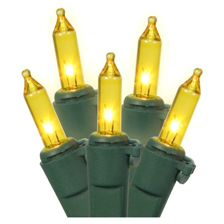 """LiteSource 32008 - 20 Light Green Wire Yellow Miniature Christmas Light String Set with 3"""" Spacing"""