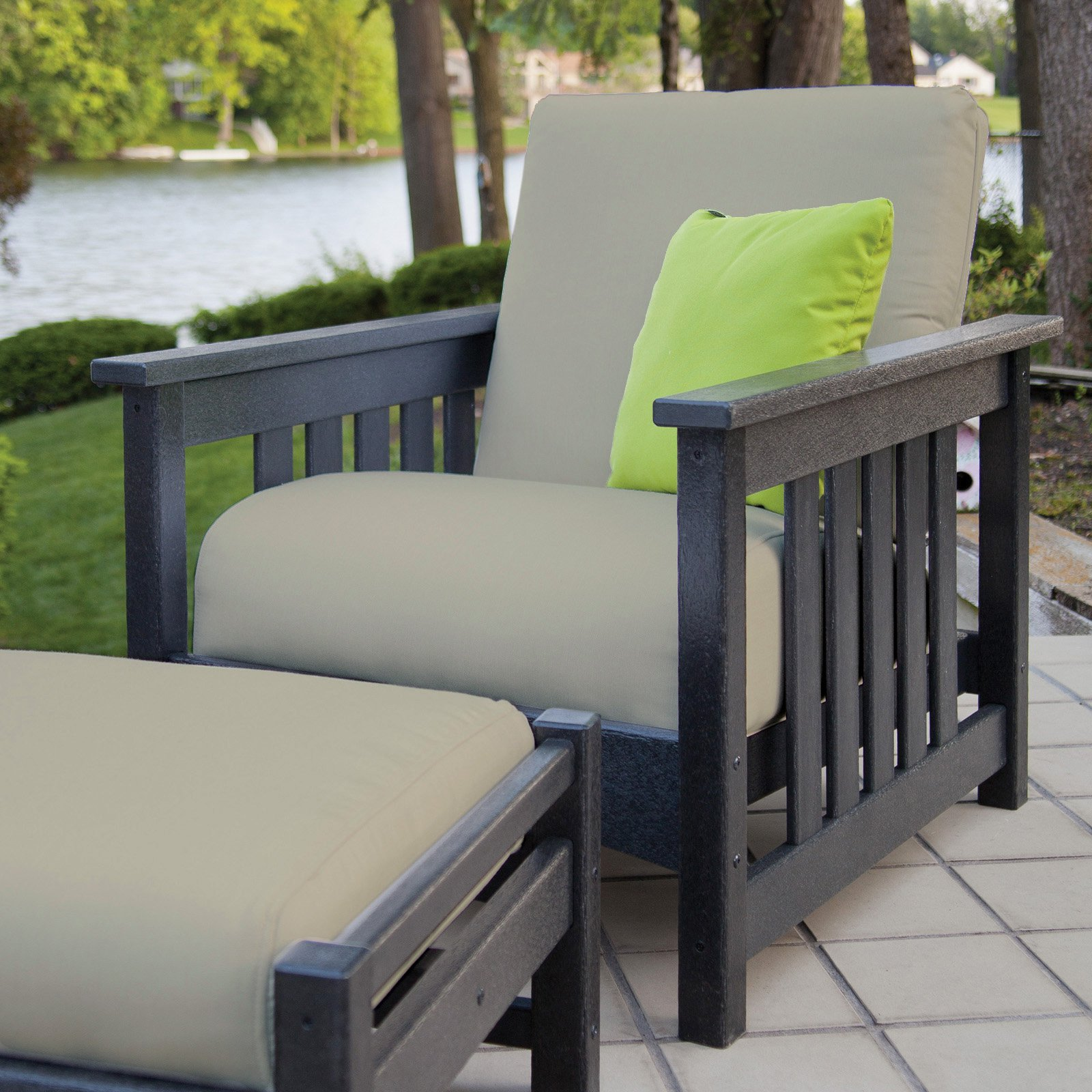POLYWOOD® Mission Chair - Black / Birds Eye